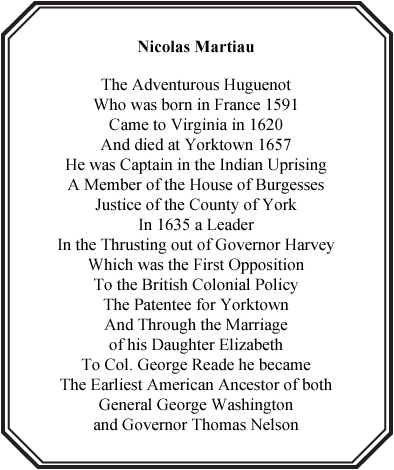 Capt. Nicolas Martiau plaque at Yorktown